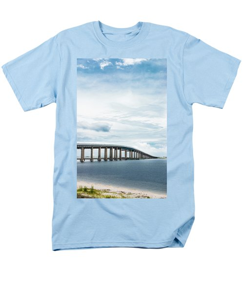 Men's T-Shirt  (Regular Fit) featuring the photograph Navarre Bridge In Florida On The Sound Side by Shelby Young