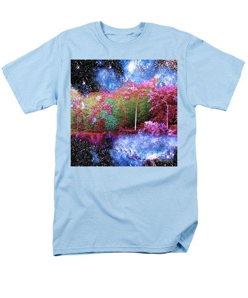 Night Trees Starry Lake Men's T-Shirt  (Regular Fit) by Saundra Myles