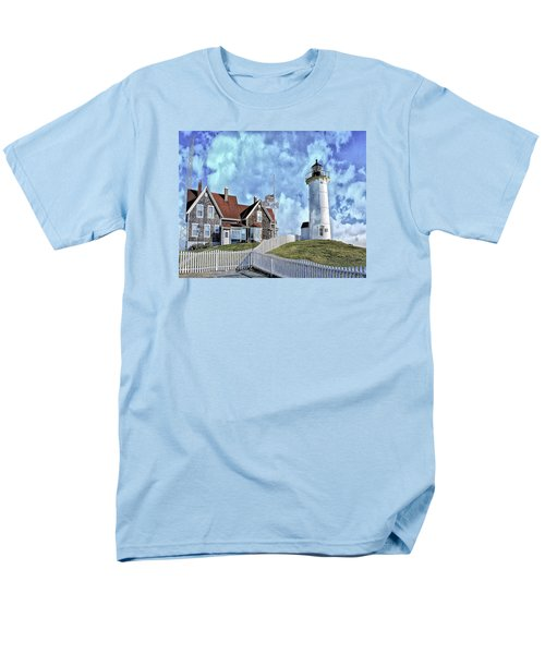 Men's T-Shirt  (Regular Fit) featuring the photograph Nobska Point Lighthouse Falmouth Cape Cod by Constantine Gregory