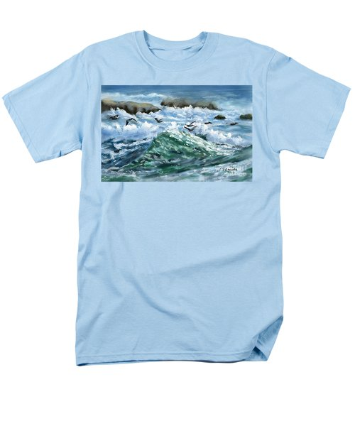 Men's T-Shirt  (Regular Fit) featuring the painting Ocean Waves And Pelicans by Judy Filarecki