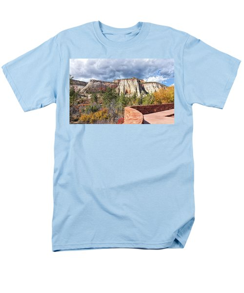 Men's T-Shirt  (Regular Fit) featuring the photograph Overlook In Zion National Park Upper Plateau by John M Bailey