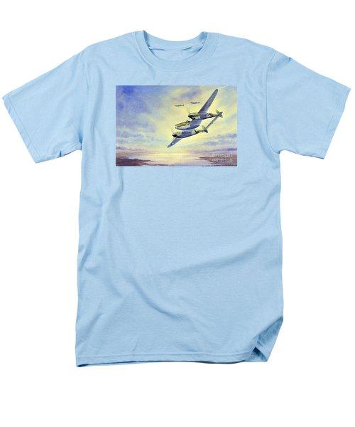 Men's T-Shirt  (Regular Fit) featuring the painting P-38 Lightning Aircraft by Bill Holkham