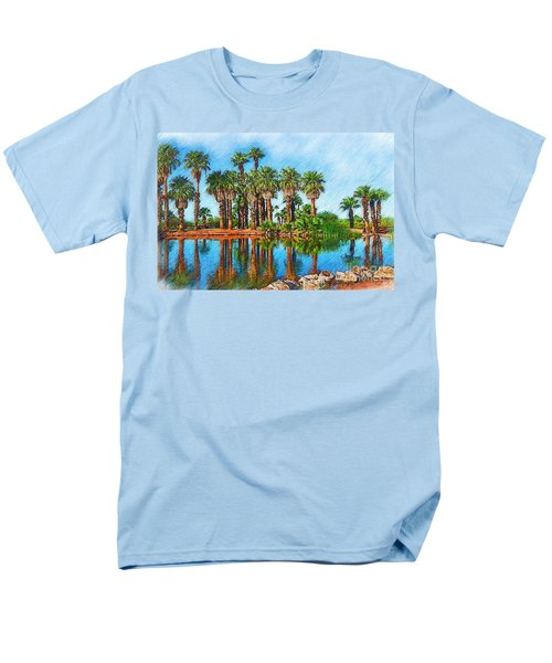 Palm Reflections Sketched Men's T-Shirt  (Regular Fit) by Kirt Tisdale
