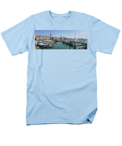Panorama In Acre Harbor Men's T-Shirt  (Regular Fit) by Arik Baltinester