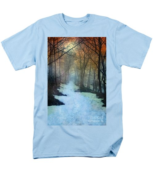 Path Through The Woods In Winter At Sunset Men's T-Shirt  (Regular Fit) by Jill Battaglia