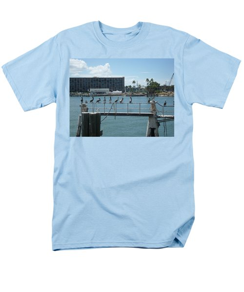 Pelicans In A Row Men's T-Shirt  (Regular Fit) by Val Oconnor