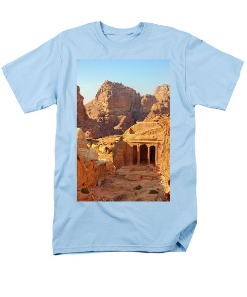 Men's T-Shirt  (Regular Fit) featuring the photograph Petra Buildings, Pond And Gardens Complex by Nicola Nobile