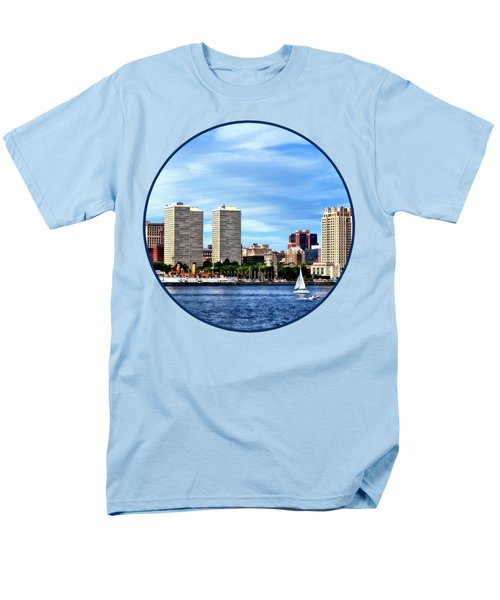 Philadelphia Pa Skyline Men's T-Shirt  (Regular Fit) by Susan Savad