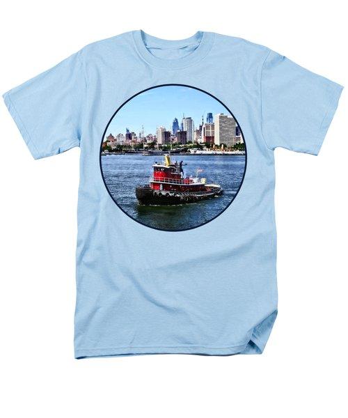 Philadelphia Pa - Tugboat By Philadelphia Skyline Men's T-Shirt  (Regular Fit) by Susan Savad