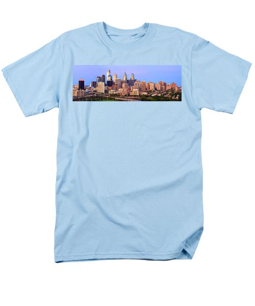 Philadelphia Skyline At Dusk Sunset Pano Men's T-Shirt  (Regular Fit) by Jon Holiday