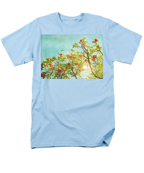 Pink Camellia Japonica Blossoms And Sun In Blue Sky Men's T-Shirt  (Regular Fit) by Brooke T Ryan