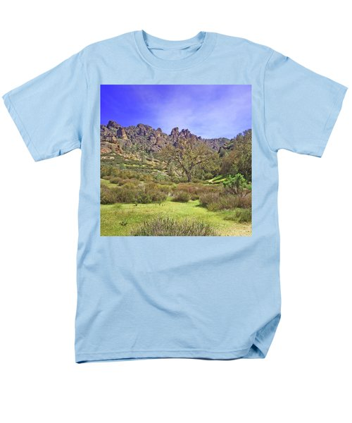 Men's T-Shirt  (Regular Fit) featuring the photograph Pinnacles National Park Watercolor by Art Block Collections