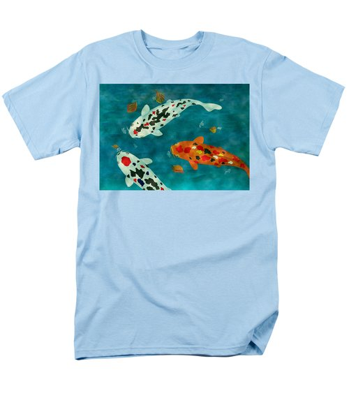 Men's T-Shirt  (Regular Fit) featuring the painting Playful Koi Fishes Original Acrylic Painting by Georgeta Blanaru