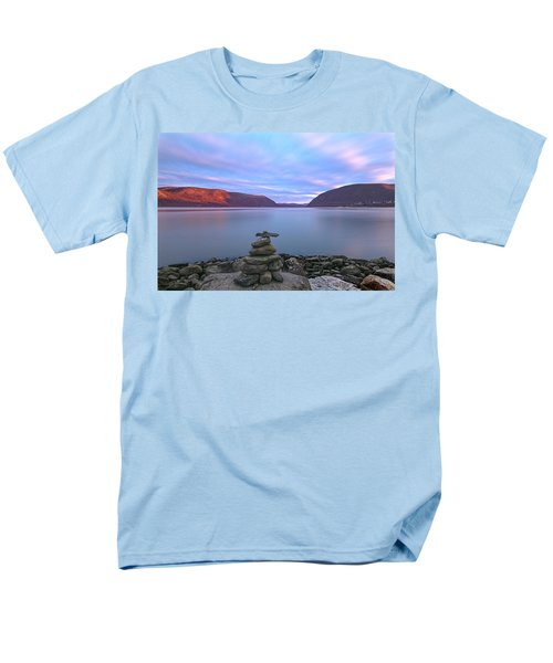 Plum  Point Rock Cairn At Sunset Men's T-Shirt  (Regular Fit) by Angelo Marcialis