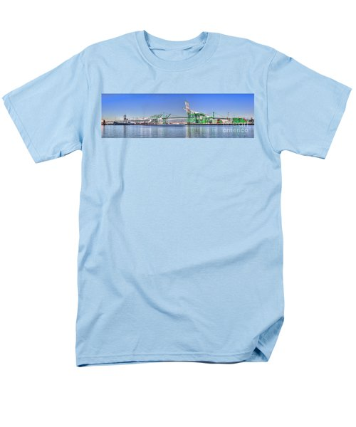 Men's T-Shirt  (Regular Fit) featuring the photograph Port Of Los Angeles - Panoramic by Jim Carrell