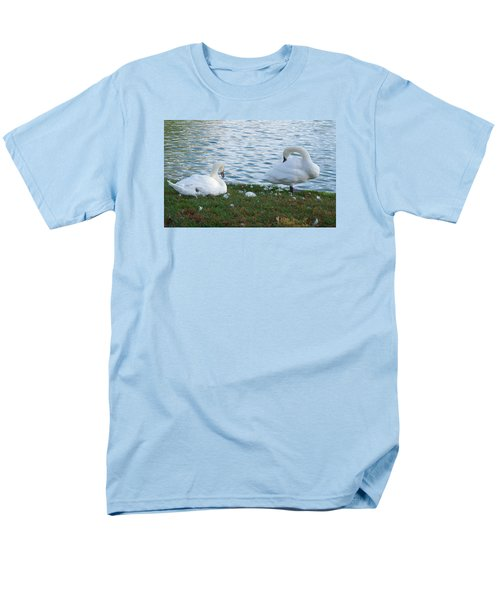 Men's T-Shirt  (Regular Fit) featuring the photograph Preening Swans by Cathy Donohoue