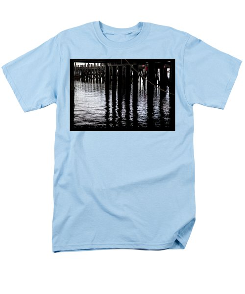 Men's T-Shirt  (Regular Fit) featuring the photograph Provincetown Wharf Reflections by Charles Harden