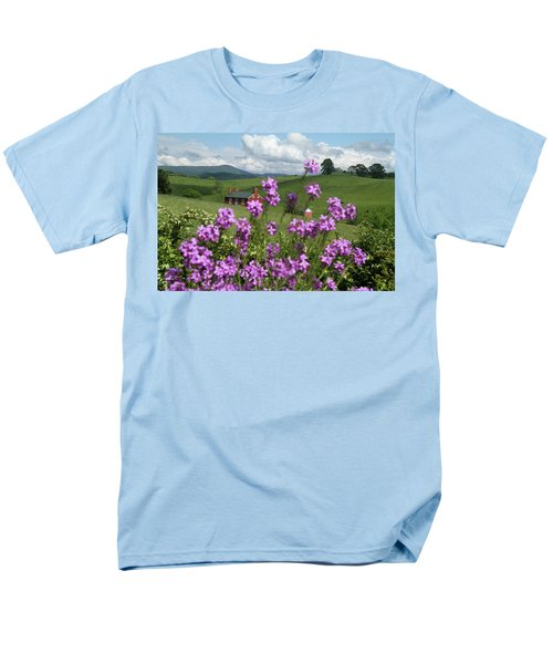 Men's T-Shirt  (Regular Fit) featuring the photograph Purple Flower In Landscape by Emanuel Tanjala