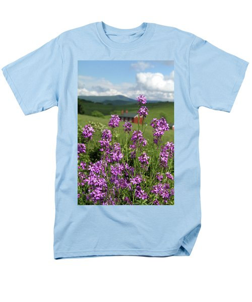 Men's T-Shirt  (Regular Fit) featuring the photograph Purple Wild Flowers On Field by Emanuel Tanjala