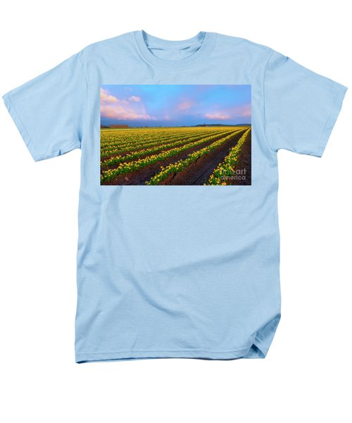 Men's T-Shirt  (Regular Fit) featuring the photograph Rainbows, Daffodils And Sunset by Mike Dawson