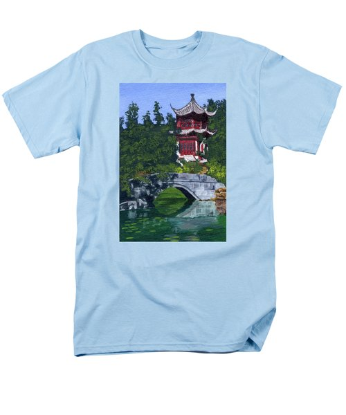 Men's T-Shirt  (Regular Fit) featuring the painting Red Pagoda by Lynne Reichhart