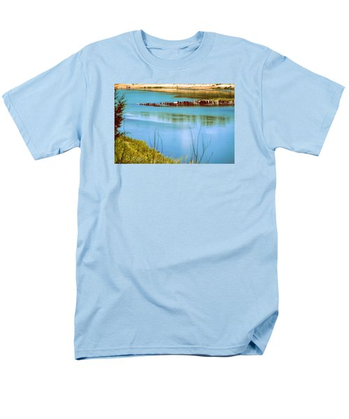 Men's T-Shirt  (Regular Fit) featuring the photograph Red River Crossing Old Bridge by Diana Mary Sharpton