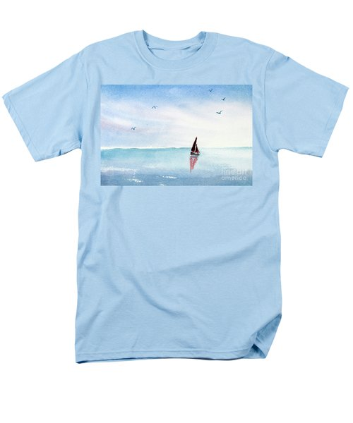 Red Sails On A Blue Sea Men's T-Shirt  (Regular Fit) by Pattie Calfy