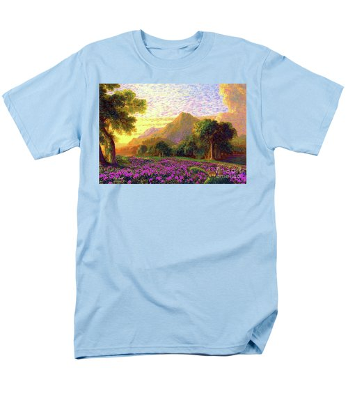 Men's T-Shirt  (Regular Fit) featuring the painting Rhododendrons, Rabbits And Radiant Memories by Jane Small