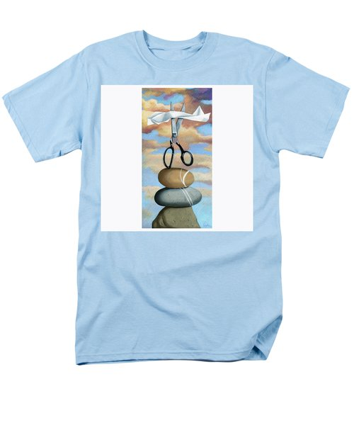 Men's T-Shirt  (Regular Fit) featuring the painting Rock, Paper, Scissors by Linda Apple