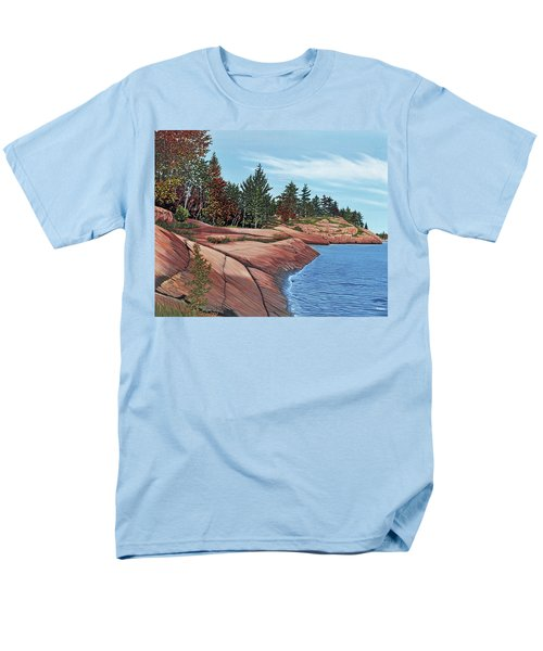 Men's T-Shirt  (Regular Fit) featuring the painting Rocky River Shore by Kenneth M Kirsch