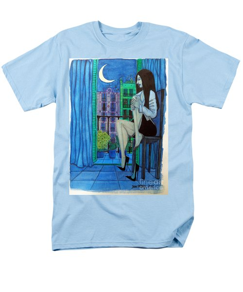 Men's T-Shirt  (Regular Fit) featuring the painting Romantic Woman At Balcony by Don Pedro De Gracia