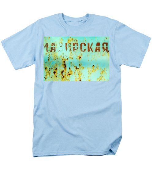 Men's T-Shirt  (Regular Fit) featuring the photograph Rust On Metal Russian Letters by John Williams