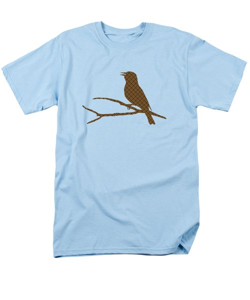 Men's T-Shirt  (Regular Fit) featuring the mixed media Rustic Brown Bird Silhouette by Christina Rollo