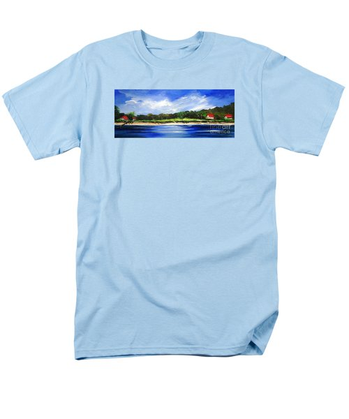 Men's T-Shirt  (Regular Fit) featuring the painting Sea Hill Houses - Original Sold by Therese Alcorn