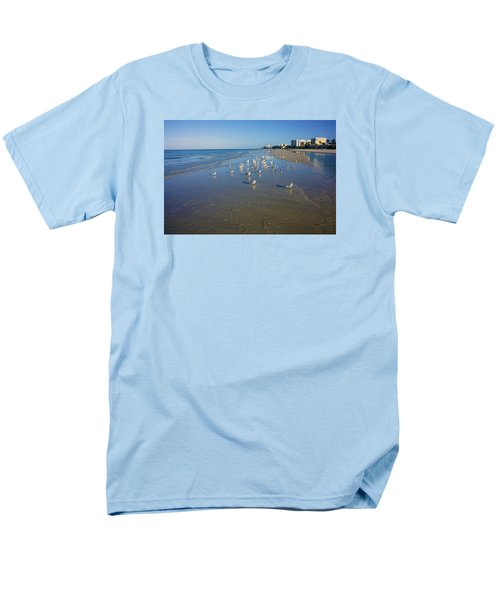 Seagulls And Terns On The Beach In Naples, Fl Men's T-Shirt  (Regular Fit) by Robb Stan
