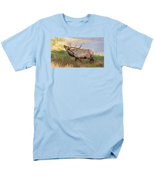 Seven Point Elk Bugling Men's T-Shirt  (Regular Fit) by Stephen  Johnson