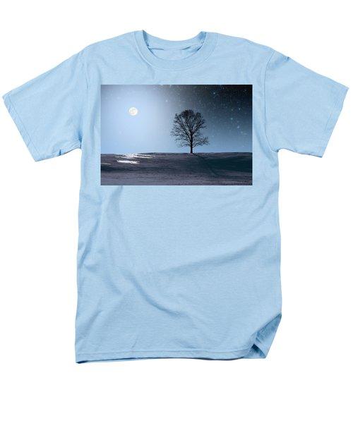 Men's T-Shirt  (Regular Fit) featuring the photograph Single Tree In Moonlight by Larry Landolfi