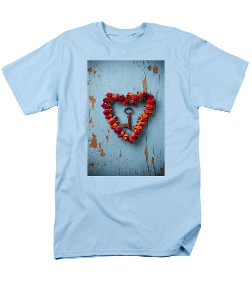 Small Rose Heart Wreath With Key Men's T-Shirt  (Regular Fit) by Garry Gay