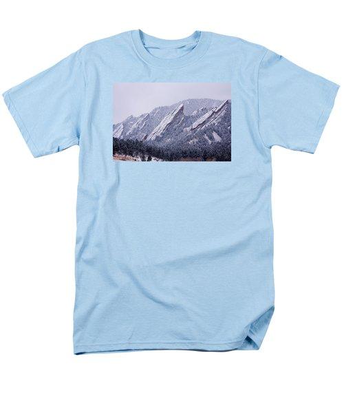 Snow Dusted Flatirons Boulder Colorado Men's T-Shirt  (Regular Fit)