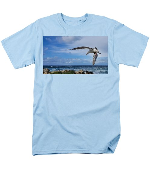 Men's T-Shirt  (Regular Fit) featuring the photograph Soaring Seagull  by Gina Savage