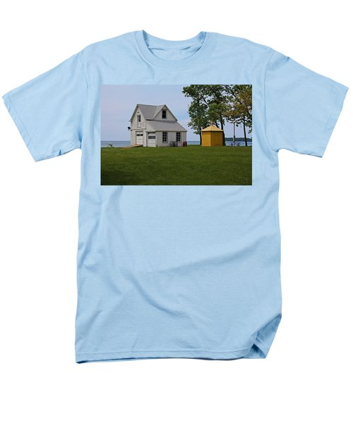 South Bass Island Lighthouse Barn And Oil Storage Building I Men's T-Shirt  (Regular Fit) by Michiale Schneider