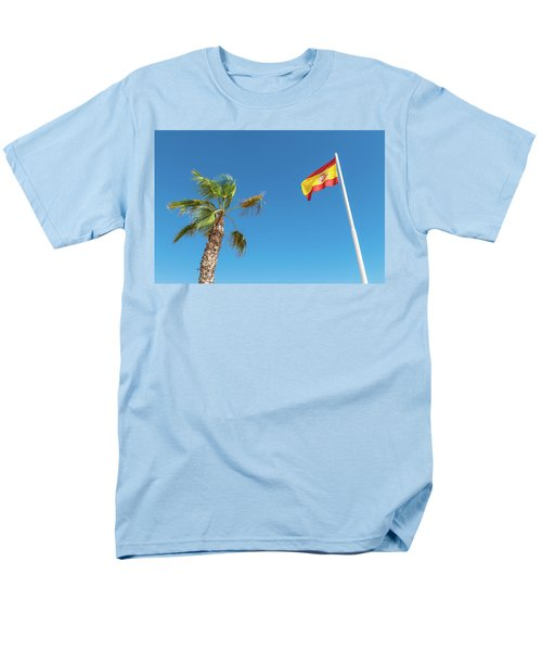 Spanish Flag And Palm Tree In The Blue Sky Men's T-Shirt  (Regular Fit)