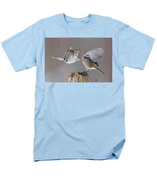 Men's T-Shirt  (Regular Fit) featuring the photograph Sparrows Fight by Mircea Costina Photography