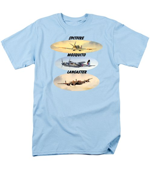 Spitfire Mosquito Lancaster Aircraft With Name Banners Men's T-Shirt  (Regular Fit) by Bill Holkham