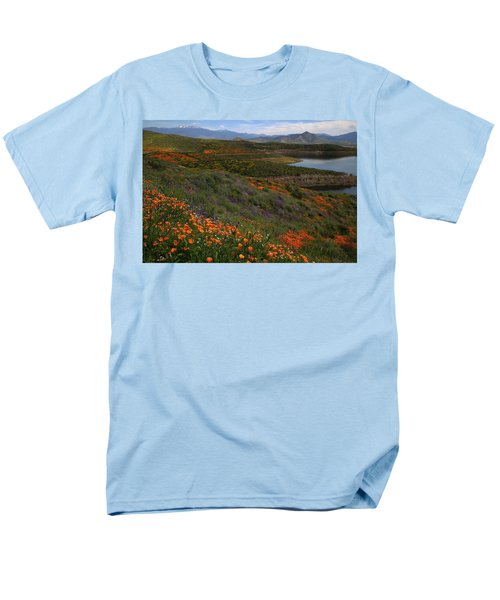 Men's T-Shirt  (Regular Fit) featuring the photograph Spring Wildflowers At Diamond Lake In California by Jetson Nguyen