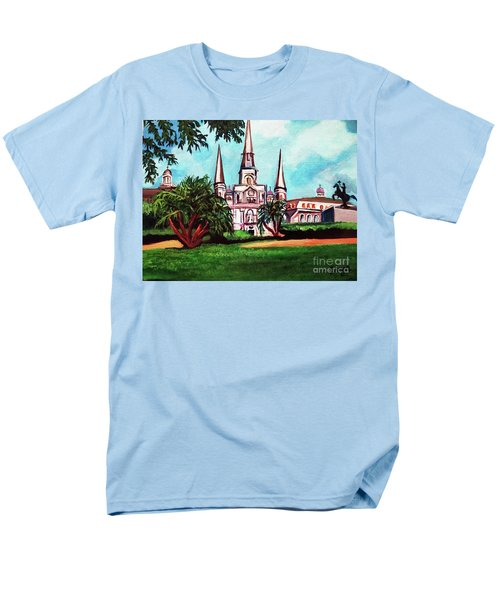 Men's T-Shirt  (Regular Fit) featuring the painting St. Louis Catheral New Orleans Art by Ecinja Art Works
