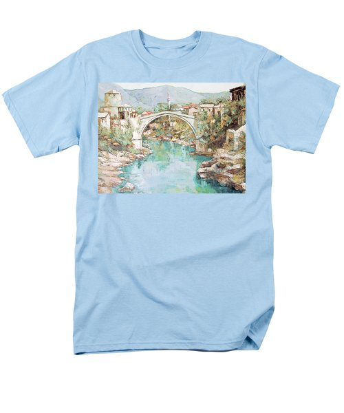 Men's T-Shirt  (Regular Fit) featuring the photograph Stari Most Bridge Over The Neretva River In Mostar Bosnia Herzegovina by Joseph Hendrix