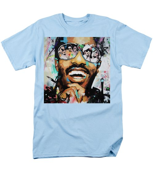 Men's T-Shirt  (Regular Fit) featuring the painting Stevie Wonder Portrait by Richard Day