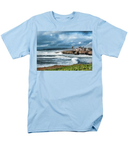 Storm Wave At Sunset Cliffs Men's T-Shirt  (Regular Fit) by Daniel Hebard