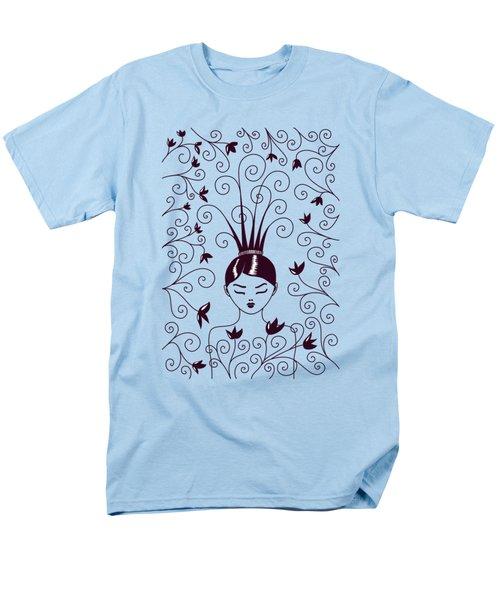 Strange Hairstyle And Flowery Swirls Men's T-Shirt  (Regular Fit)